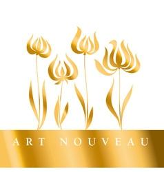 Gold tulip art nouveau style vector
