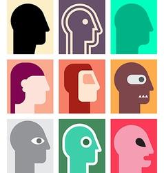 Human heads 8 vector