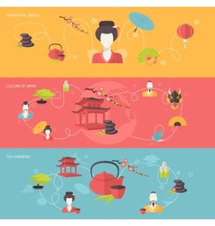 Japanese banner set vector image vector image