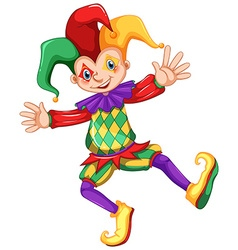 Jester in colorful costume vector
