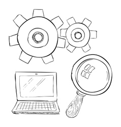 Laptop with magnifier icon hand drawn style vector