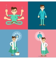 Male dentist cartoon characters set vector image vector image