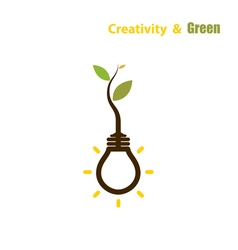 Plant growing inside the light bulb vector