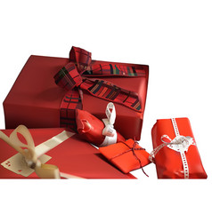 red christmas gifts vector image vector image