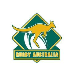 rugby australia kangaroo wallaby vector image vector image