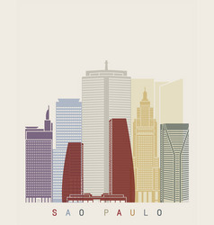 sao paulo v2 skyline poster vector image vector image
