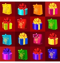 Set of gift boxes and bags on a red background vector image