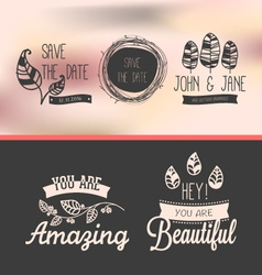 set of vintage stickers vector image