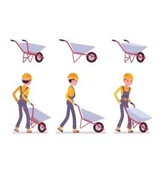 Set of wheelbarrow and builder vector
