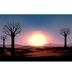 Silhouette sunset vector