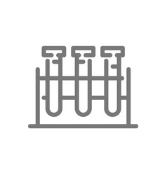 Simple test tube and flask line icon symbol and vector
