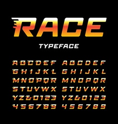 Sport font alphabet with tail effect letters and vector