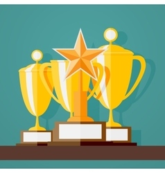 Trophy and awards in flat design style vector image vector image