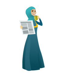 Woman drinking coffee and reading newspaper vector