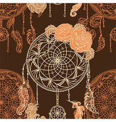 Dream catcher roses leaves and feathers vector