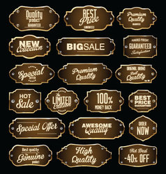 Brown and gold premium quality labels vector