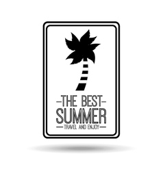 Palm tree card best summer travel and enjoy vector