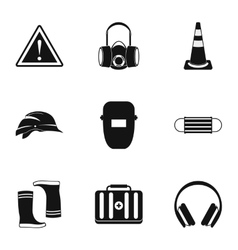 Construction ground icons set simple style vector