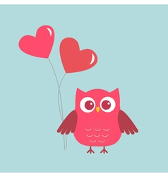 Cute owl with pink Hearts ballons vector image