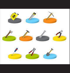 set of isometric industrial tools on a round base vector image