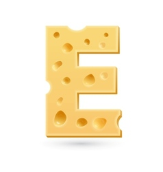 E cheese letter symbol isolated on white vector