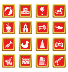 Different kids toys icons set red vector