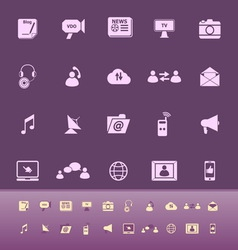 Media color icons on purple background vector