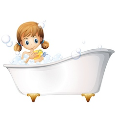 A girl on the bathtub vector