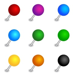 Round pushpin set vector image