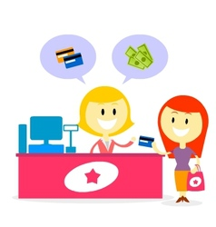 Pay with cash or credit card vector