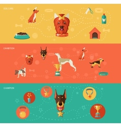 Dog icons banner set vector