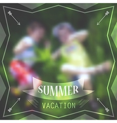 Summer holidays poster with boys laying in grass vector