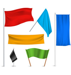 Colored flags banners icons composition vector