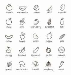 Line art vegetables icons set vector