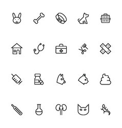 Veterinary outline icons 1 vector