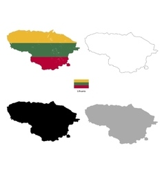 Lithuania country black silhouette and with flag vector