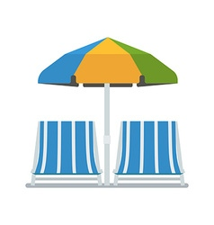 Chaise lounges and sun umbrella vector