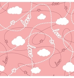 Love hearts and clouds seamless pattern vector