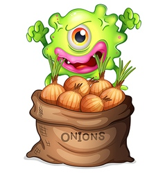 A monster and a sack of onions vector image vector image