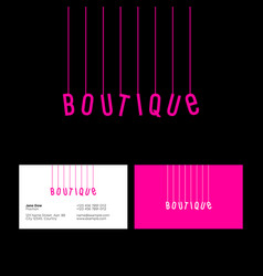 Boutique logo pink letters on threads vector