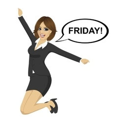 Businesswoman jumping happy with friday text vector