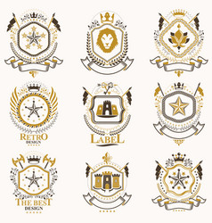 Classy heraldic coat of arms collection of vector
