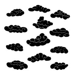 Cloud icon set stylized black fairytale sketch vector
