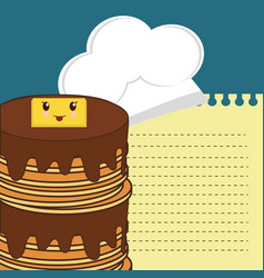 Delicious pancake with syrup and butter breakfast vector