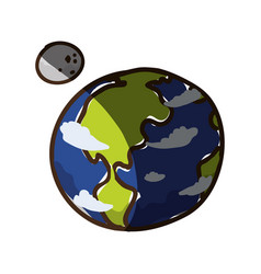 Earth planet moon vector