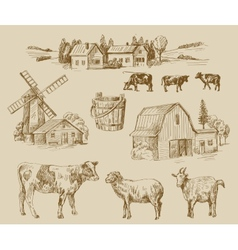 Farm hand drawn vector
