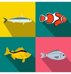 Fish banners set flat style vector image vector image