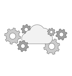 Gear collection with cloud vector image