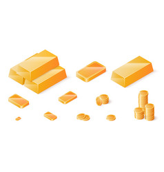 gold bars and coins set isometric vector image vector image