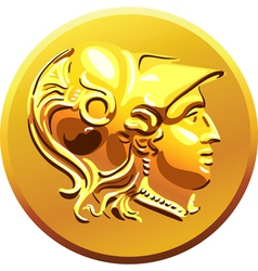 Greek money gold coin vector